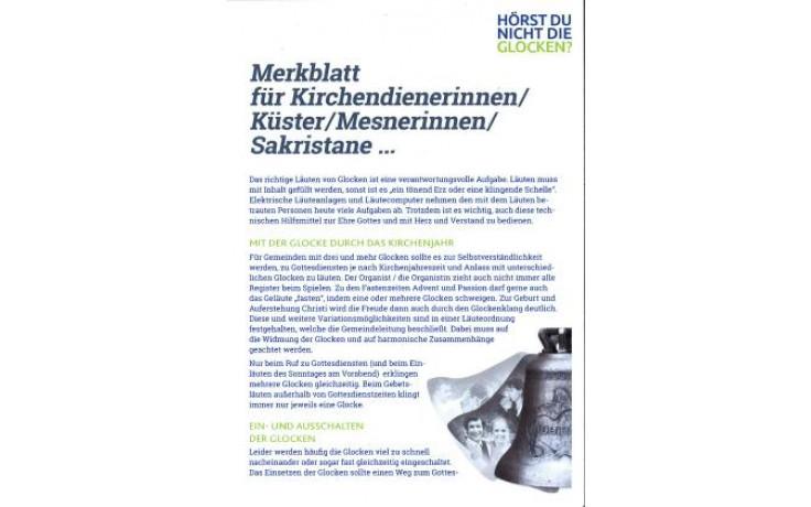 Merkblatt für Kirchendienerinnen/Küster/Mesnerinnen/sakristane