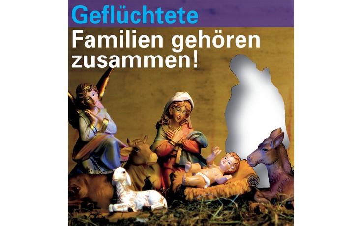 Geflüchtete Familien gehören zusammen (Postkartenserie 4er Set)