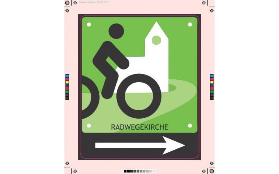 Schild Radwegskirche mit Pfeil nach rechts