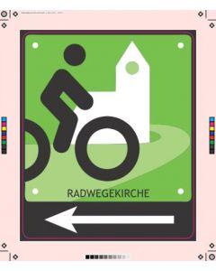 Schild Radwegskirche mit Pfeil nach links